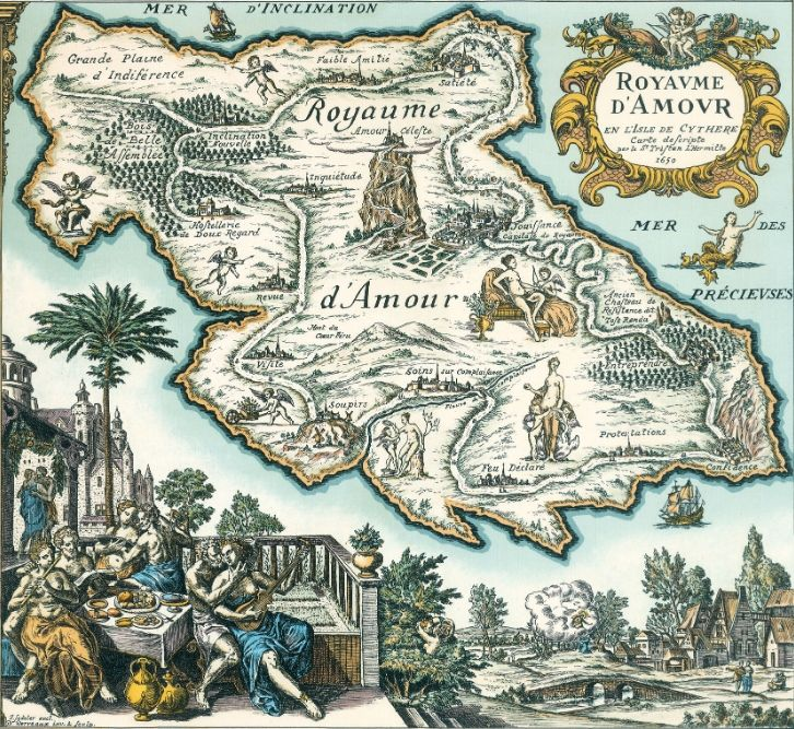 Carte Du Tendre Pays Imaginaire Inspire Par Clelie Histoire