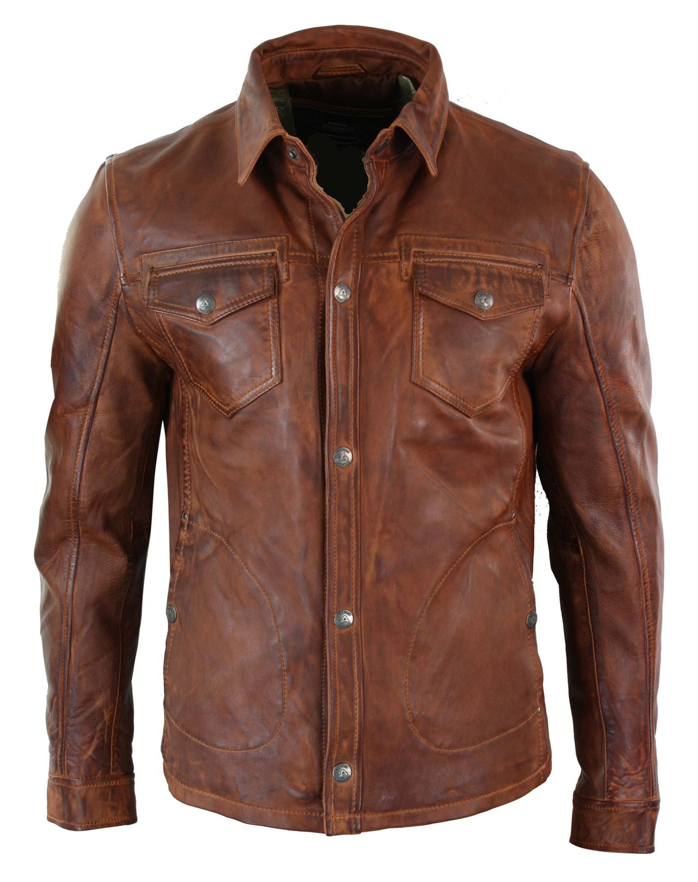 Details about Mens Tan Timber Washed Slim Fit Shirt Jacket