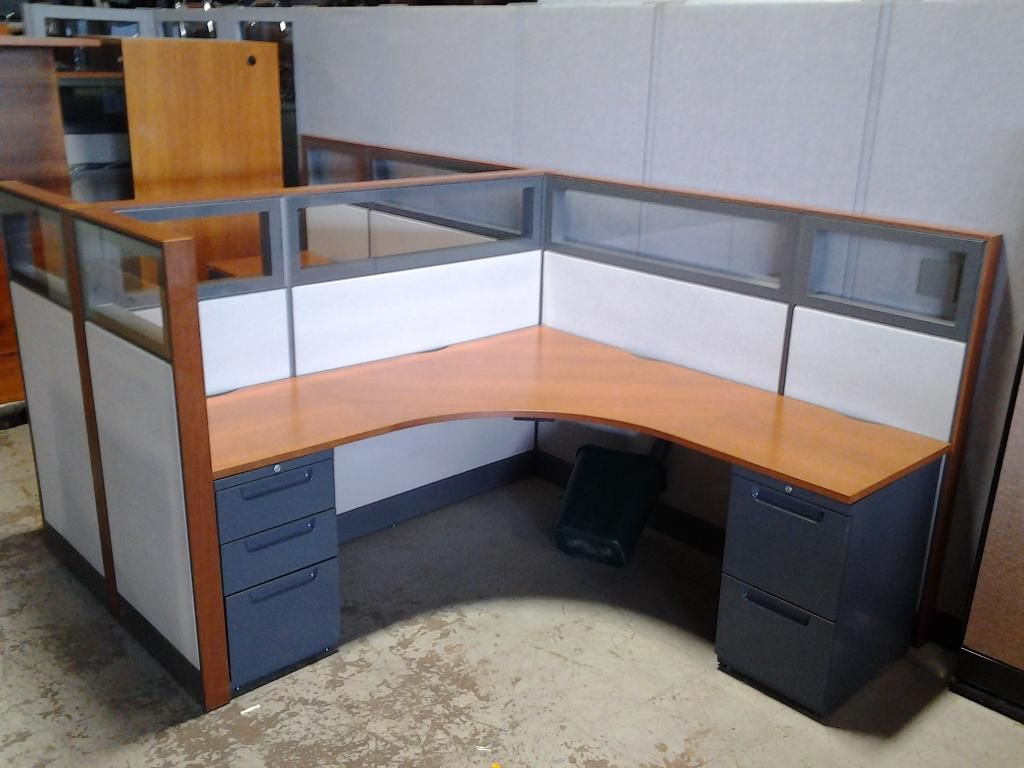 Wood Office Cubicles ~ These used office cubicles are located in new york they
