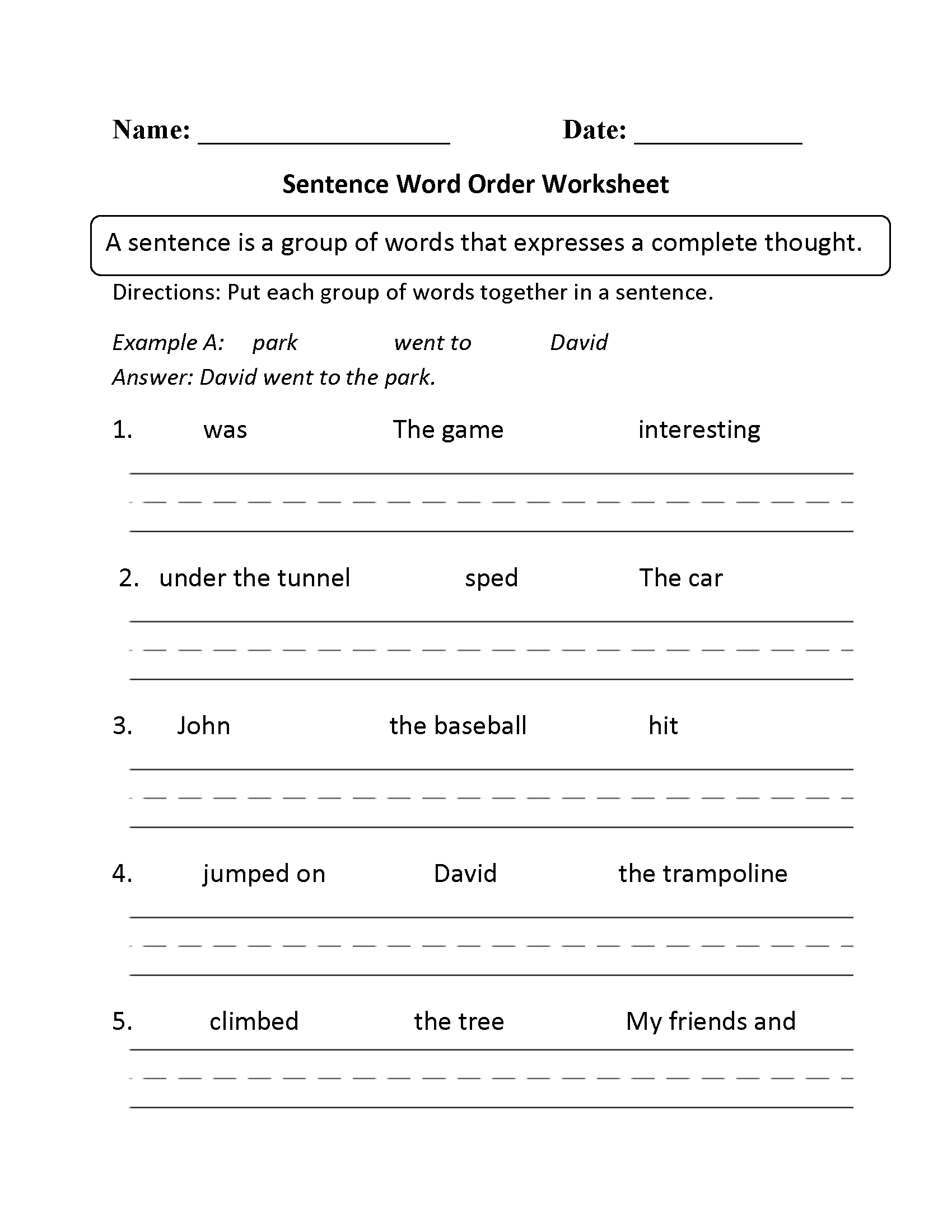 Sentence Structure Worksheets | writing | Pinterest