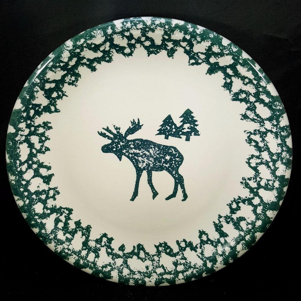 Folk Craft Moose Country Dinner Plate(s) Tienshan Green Sponge 4 Avail 10 1/4  & Folk Craft Moose Country Dinner Plate(s) Tienshan Green Sponge 4 ...