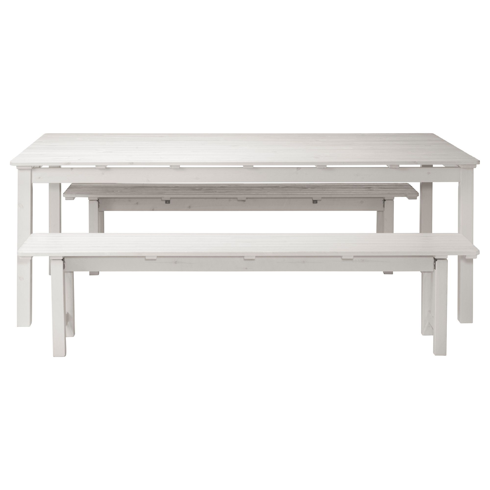 """NGS– Table and 2 benches white IKEA Summer house"