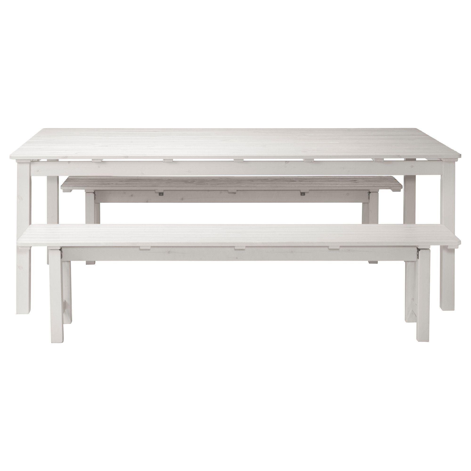 Hervorragend ÄNGSÖ, Tisch+2 Bänke/außen, weiß las. weiß, weiß Jetzt bestellen  YR57