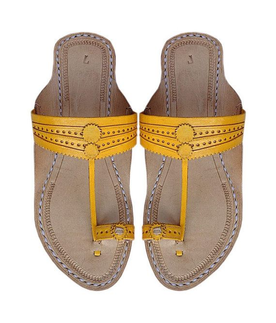 Golden Yelow Leather Sandal DLC-W-256 by kolhapurichappals on Etsy