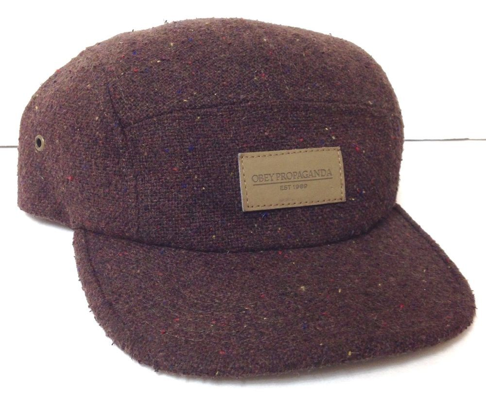 91f4b45dfb5 Mens Brown Tweed OBEY PROPAGANDA FIVE PANEL HAT Camper Relaxed Fit Leather  Strap  OBEY  5Panel