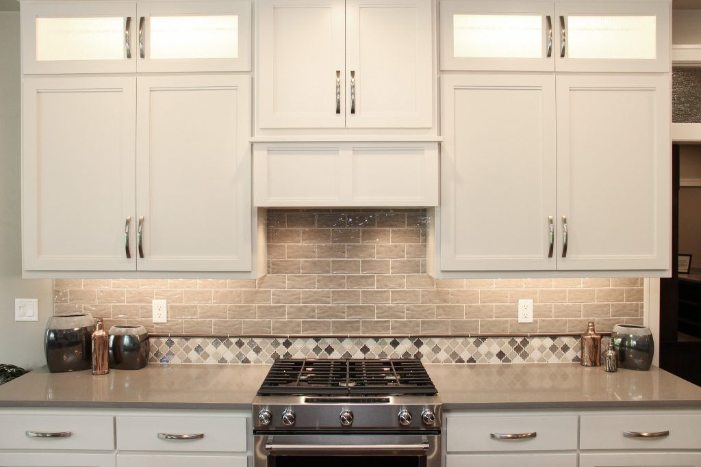 White And Grey Tile Backsplash Glossy Beige Stone Tile Accent
