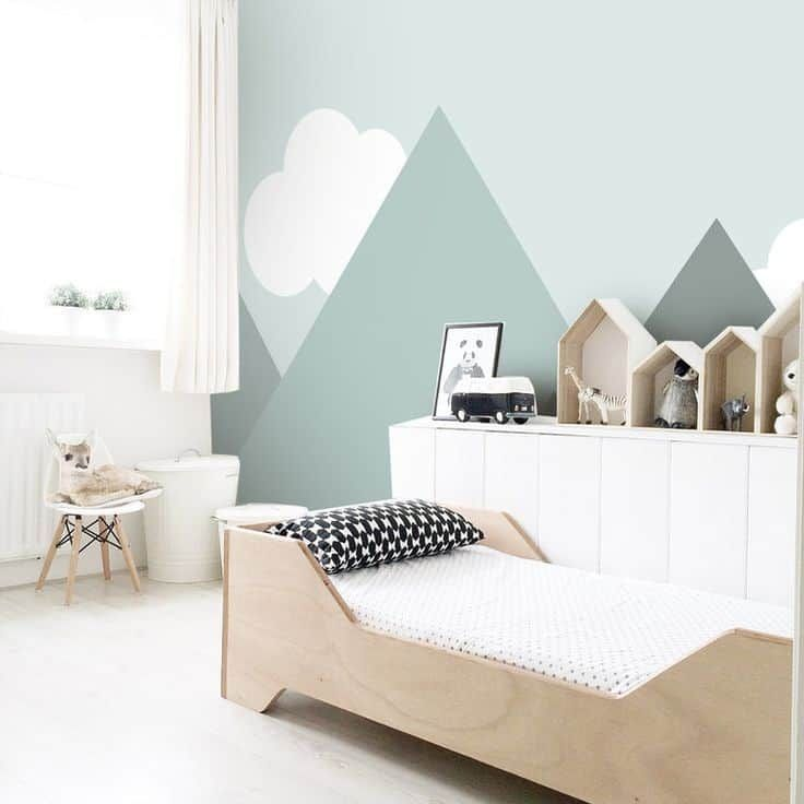 Geometric painting is invited in the children's room