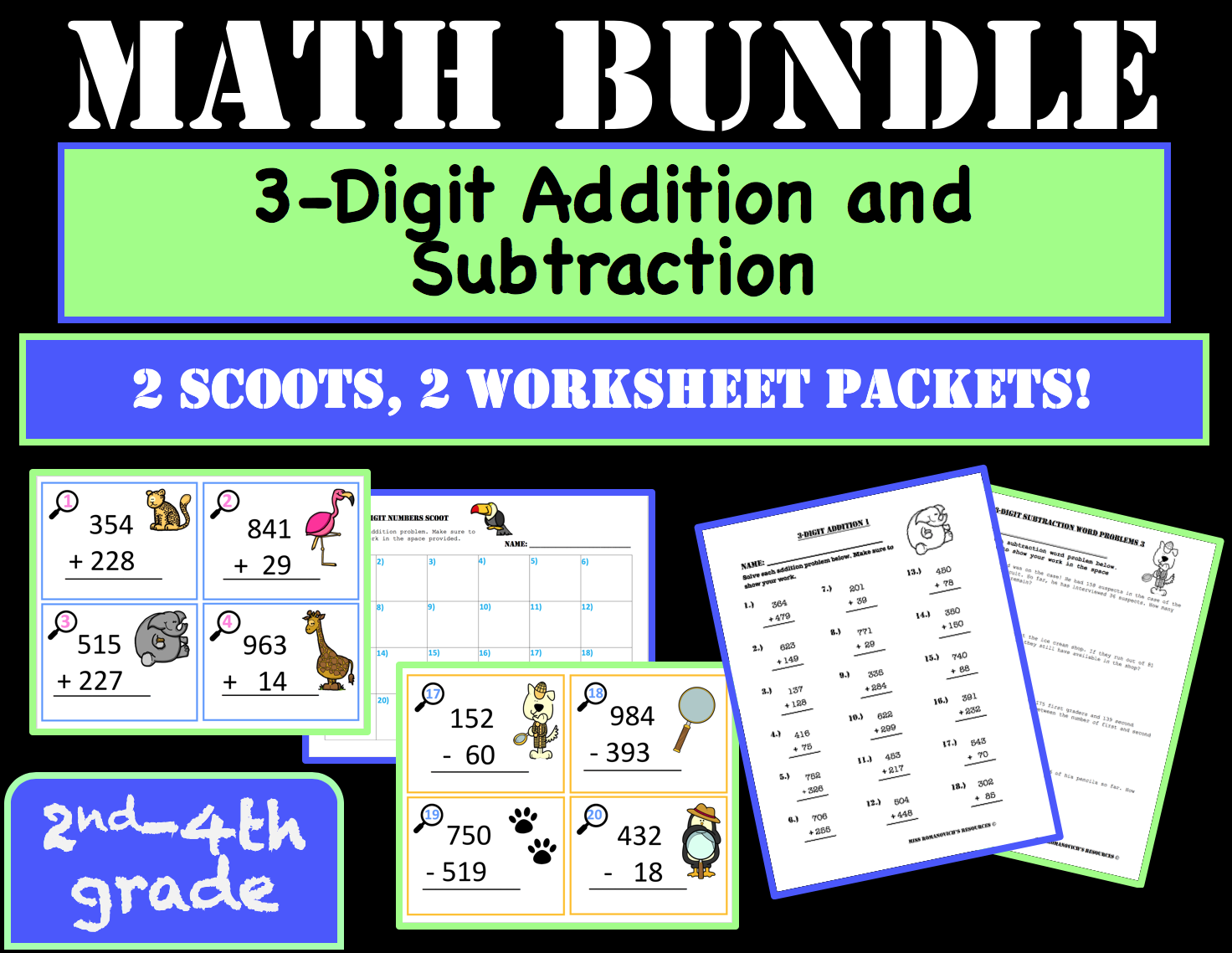 3-Digit Addition and Subtraction Bundle (2 worksheet ...