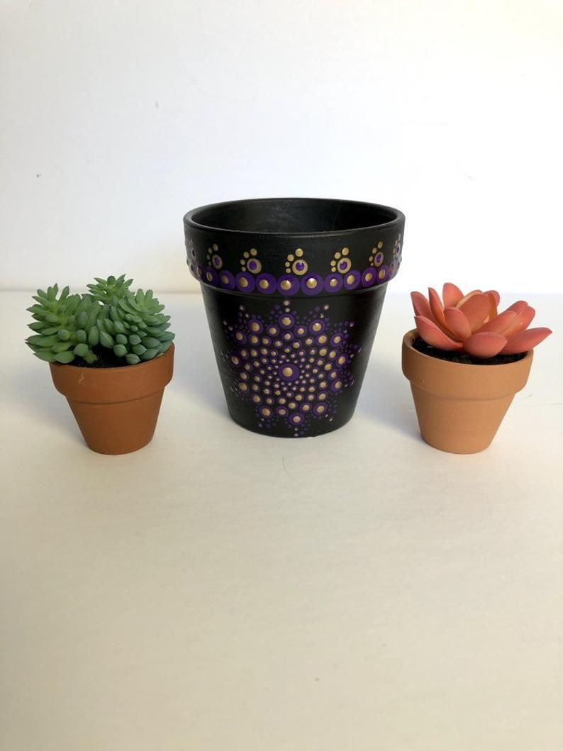 Funky bold unique painted indoor flower pots - perfect gift for mom! #giftformom #mothersday #gardening #indoorplantars #flowerpots #mandala & Elegant sophisticated indoor planter - purple and gold flower pot ...