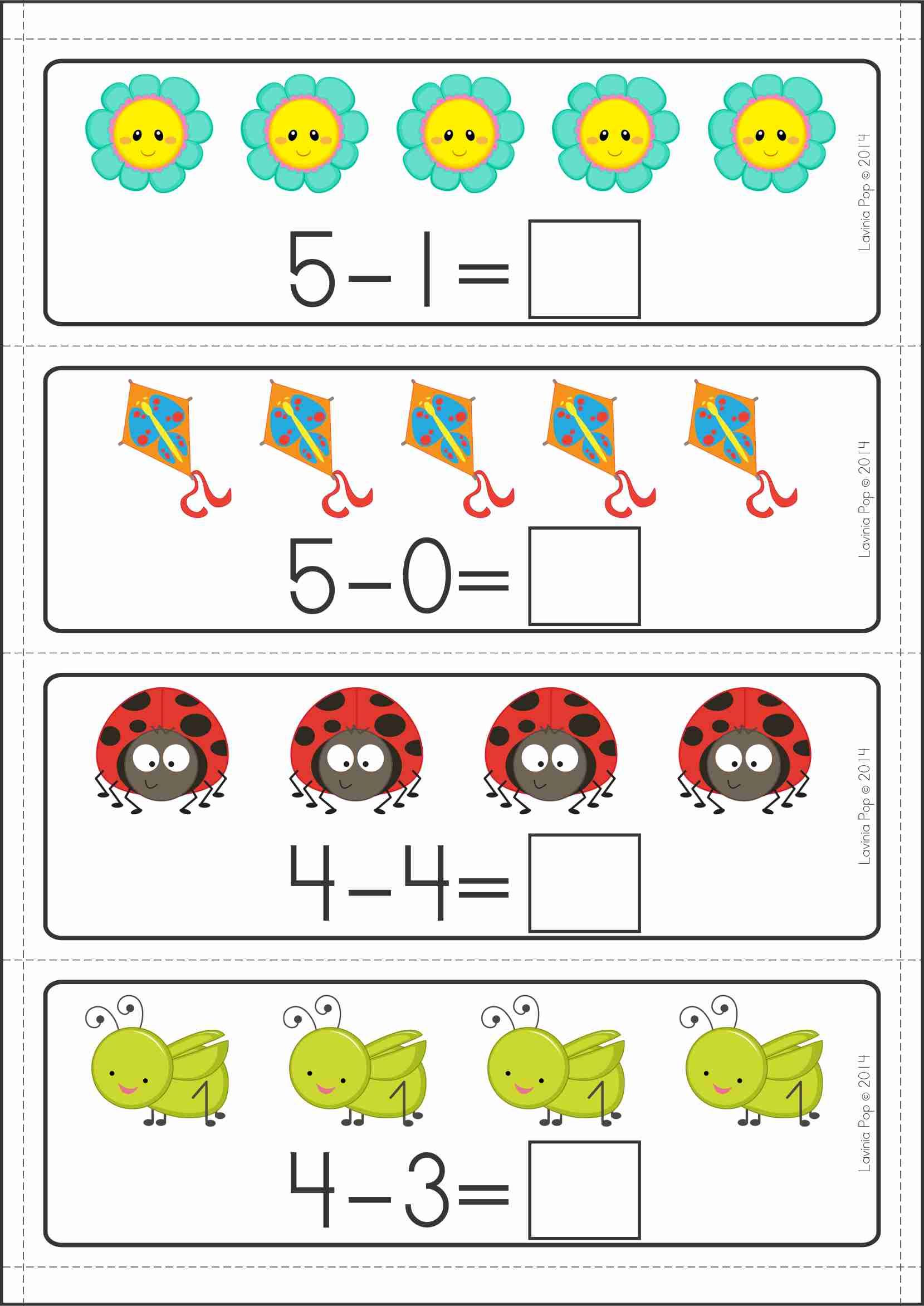 kindergarten math centers spring 137 pages in total a page from the unit subtraction cards. Black Bedroom Furniture Sets. Home Design Ideas