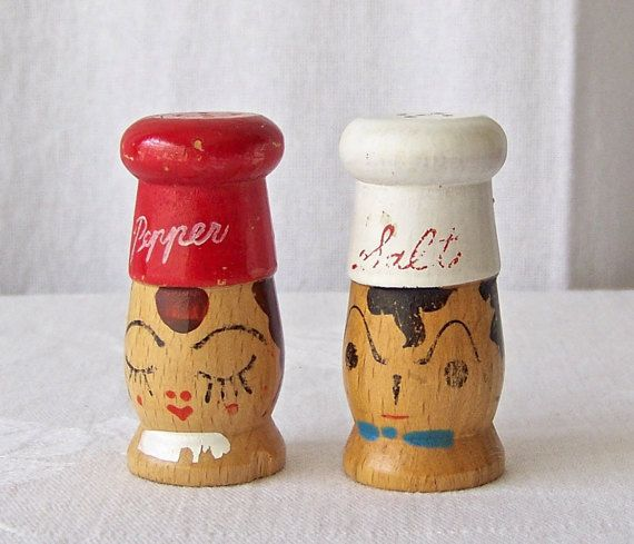 Vintage Salt and Pepper Shakers BBQ Grilling by CynthiasAttic