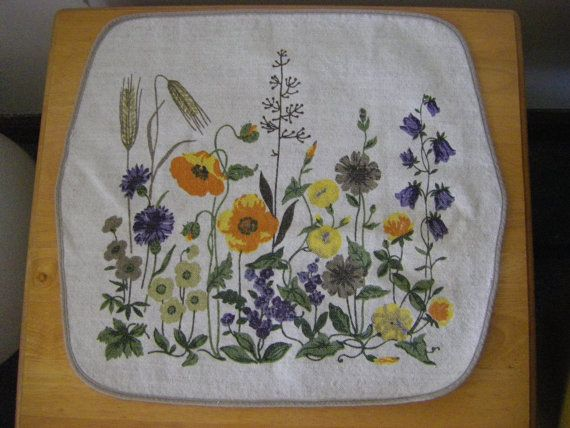 Swedish Floral Table Linen by TweedTurtleRetro on Etsy, $10.00
