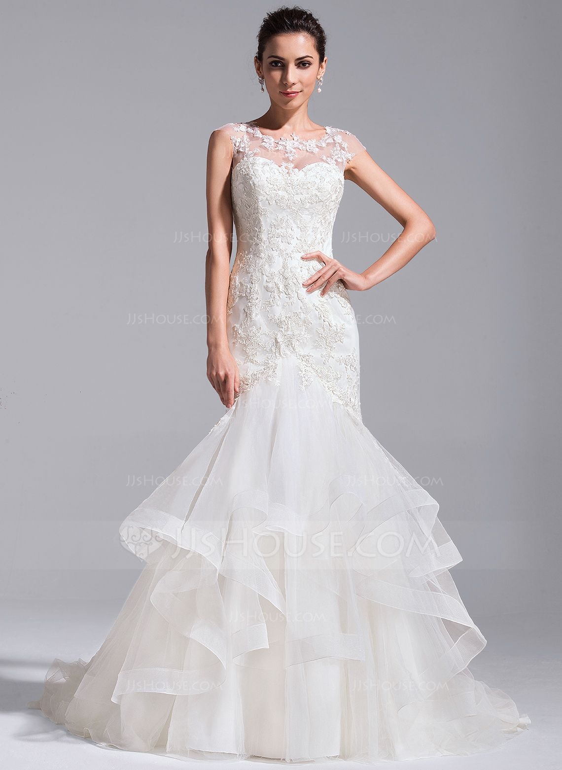 Trumpet/Mermaid Scoop Neck Court Train Tulle Lace Wedding Dress With ...