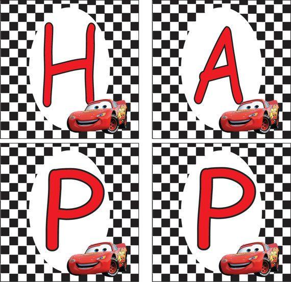 Lightning Mcqueen Banner Birthday Banner Template Cars Birthday Party Disney Cars Birthday