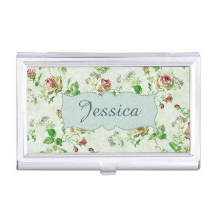 Personalised vintage pink and green roses pattern business card holder reheart Choice Image