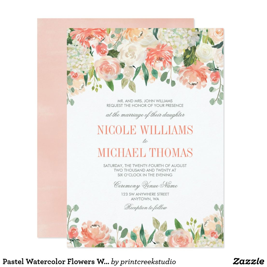 Pastel Watercolor Flowers Wedding Invitations Zazzle Com In 2020