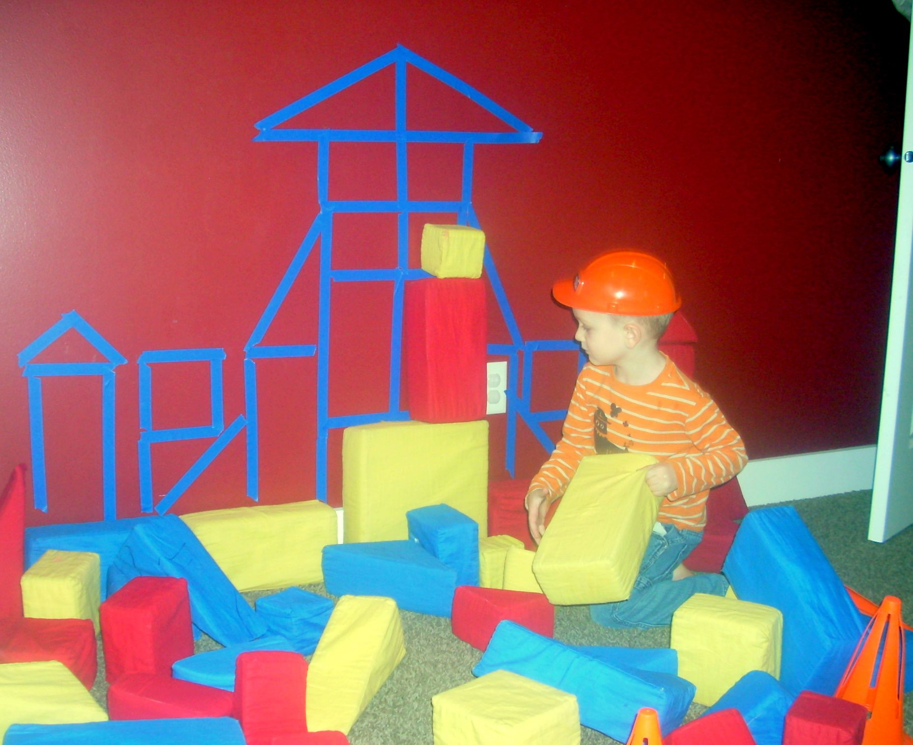 Use Painters Tape To Outline The Shape Of Blocks On The