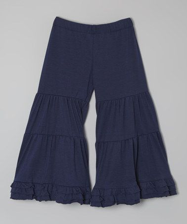 Navy Tiered Flare Pants - Toddler & Girls