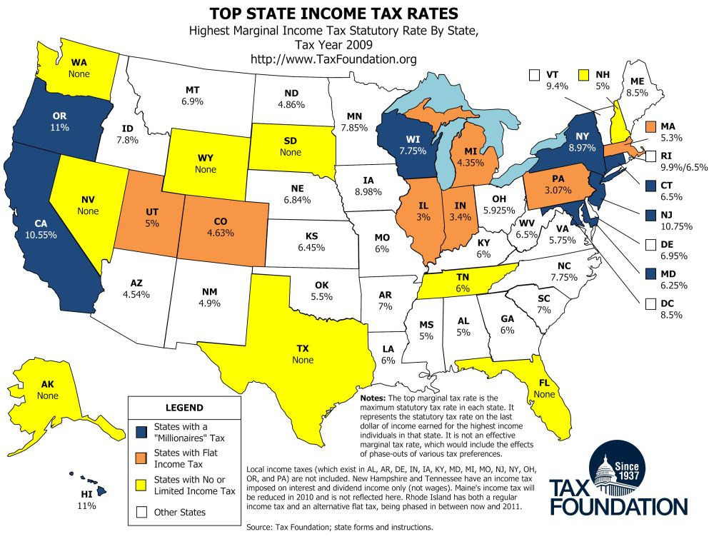 Map Top State Income Tax Rates With Images Income Tax Tax