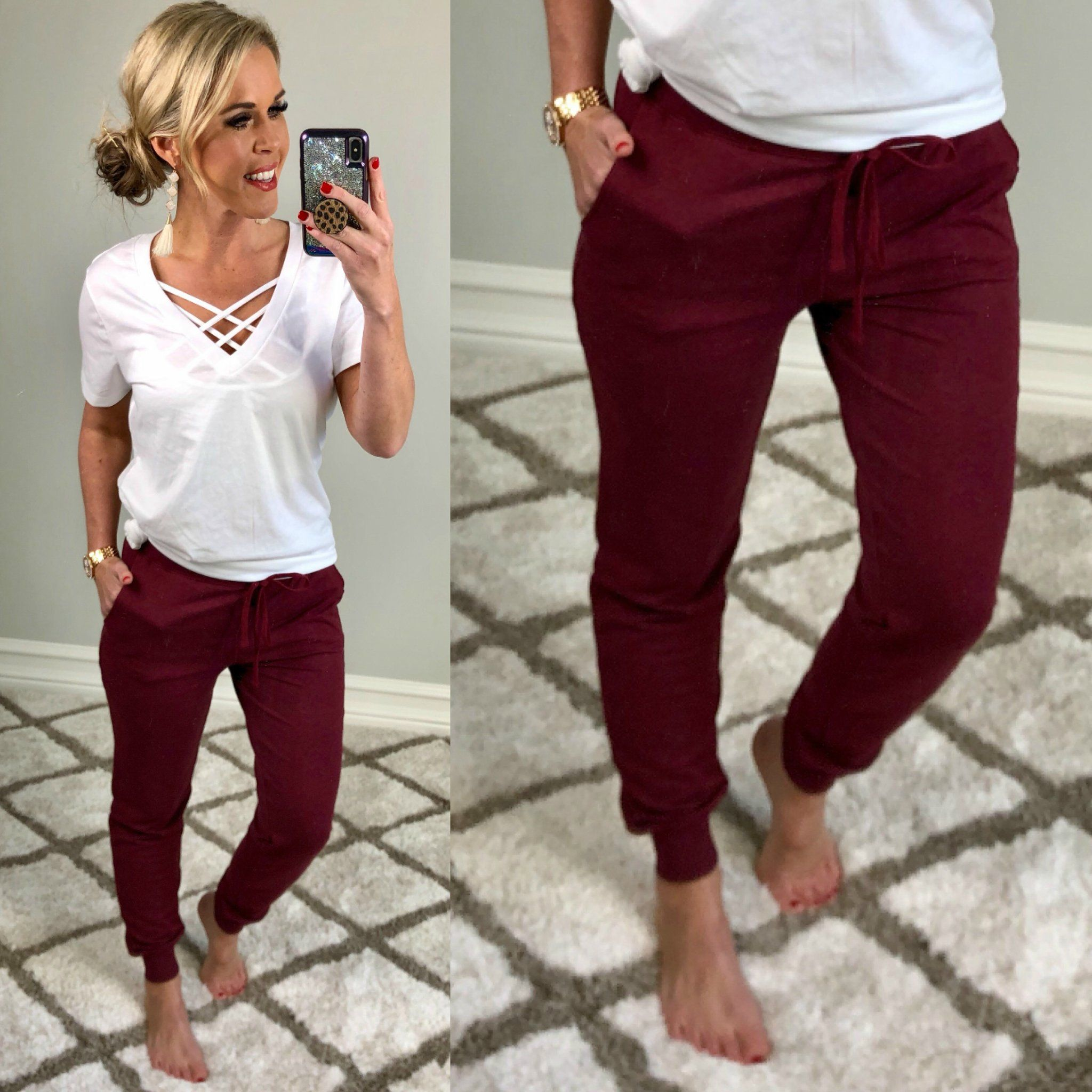 Burgundy Pocket Joggers -   18 fall outfits 2020 for women over 50 ideas