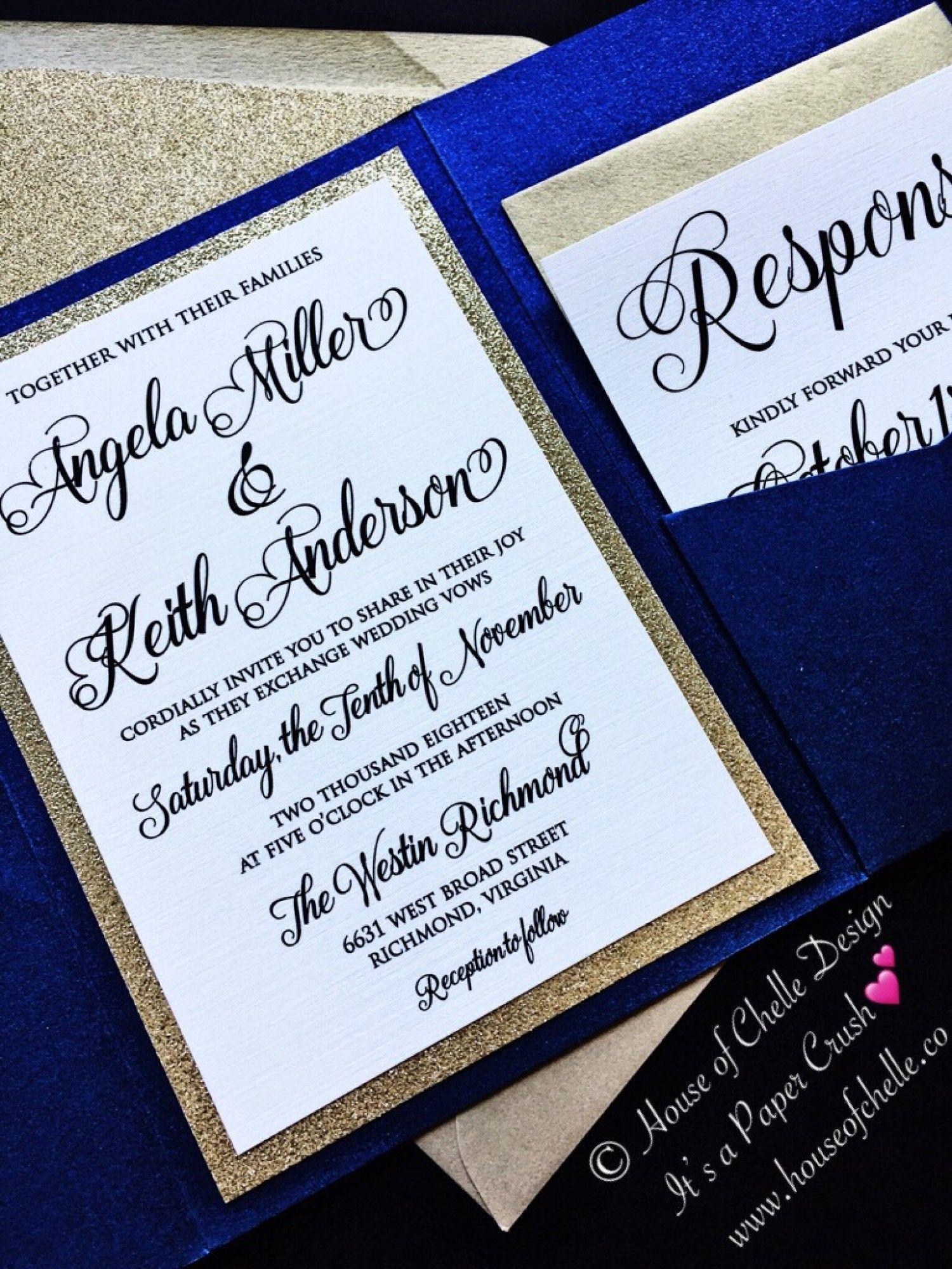 C And Navy Blue Wedding Invitations