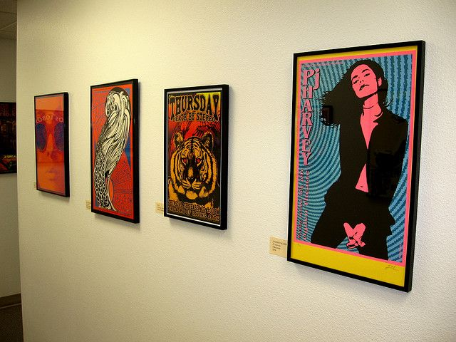 Gig Posters displayed by Allen Novak, Visual Resources Librarian at the Kimbrough Library
