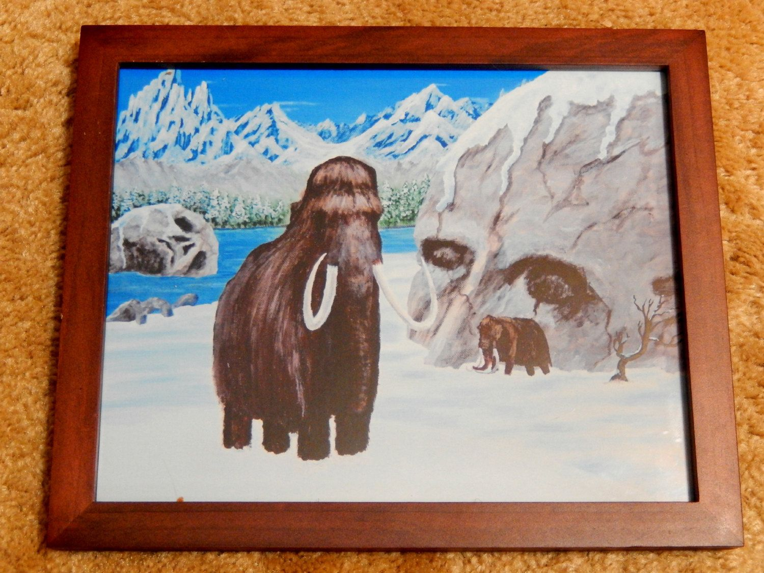 Framed Wooly Mammoth Fantasy Print of original acrylic painting 8X10 Wooly Mountains Primitive Snow Skull Rock Ice Age Print Brown Framed by ABrushOfLife on Etsy