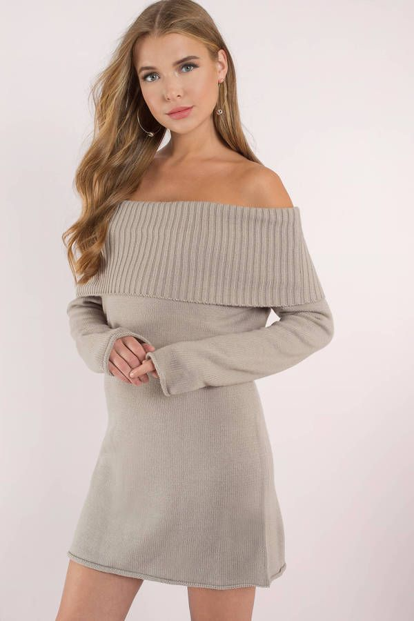 cb121f364e12 It s all happening now in the Terracotta Right Now Off Shoulder Sweater  Dress. This off the shoulder dress features a short hem