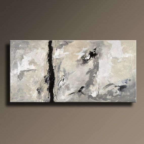 XXL ABSTRACT PAINTING Black White Gray Painting by Art70studio
