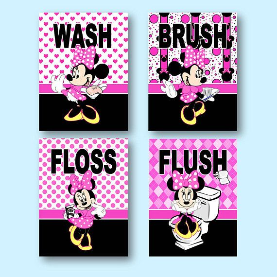 "minnie mouse wash brush floss flush 8""x10"" wall art prints"