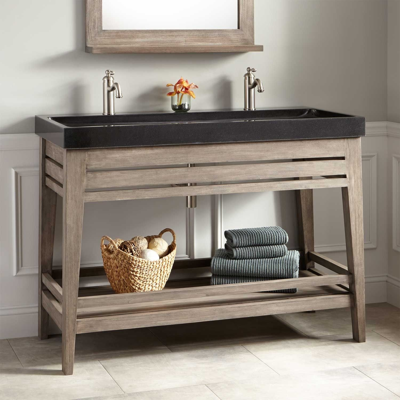 48 aurelia vanity with black granite trough sink gray wash