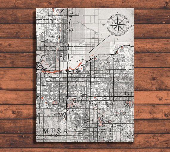 MESA AZ Canvas Print Arizona Vintage map Mesa Az City Vintage map ...