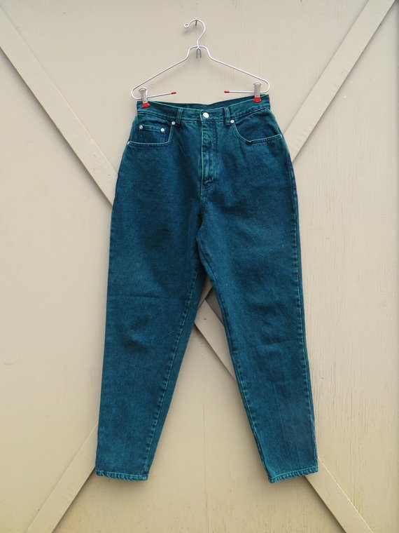 4b84830aa5f 80s vintage L.A. Blues Dark Green Color Wash High Waist Tapered Leg Jeans