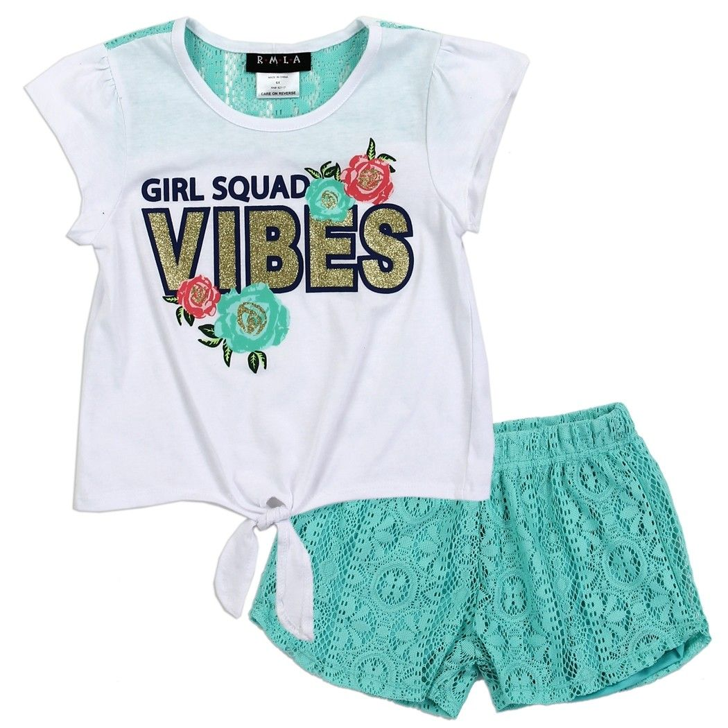 6f7e9e445 RMLA Girl Squad Vibes Toddler Girls Lace Short Set With Butterflies ...