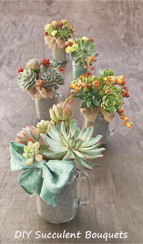 DIY Succulent Bouquet in Mason Jar Mugs Succulents diy