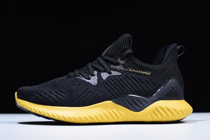 01505ec89 2018 Men s Adidas AlphaBounce Beyond Black Yellow Shoes CG5555 in ...