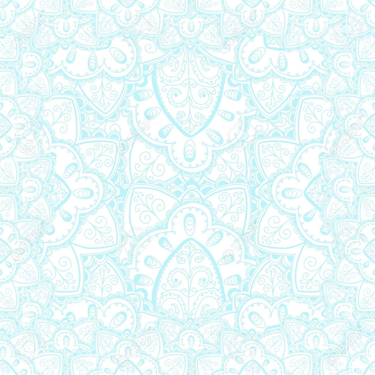 Vector tender lace vector pattern with doodle flowers. Blue and white design. ,