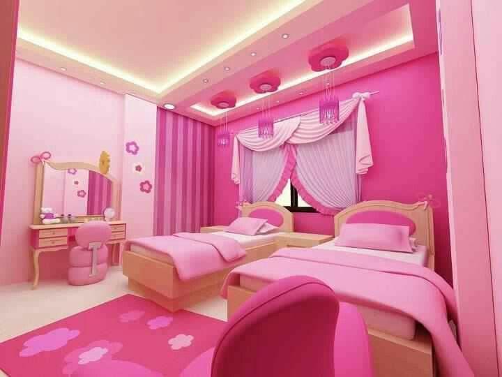 Pink Teenage Girls Room With 2 Bed Pink Bedroom Design Pink