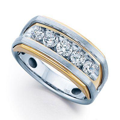 Men S 1 Ct T W Diamond Five Stone Wedding