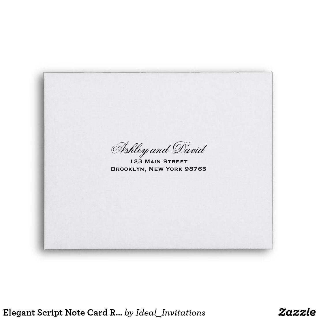 Elegant Script Note Card Return Address Envelope Zazzle Com Custom Printed Envelopes Note Cards Printed Envelopes