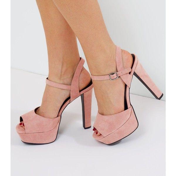 f74f38572c6 New Look Pink Wide Fit Suedette Ankle Strap Platform Heels ($34 ...