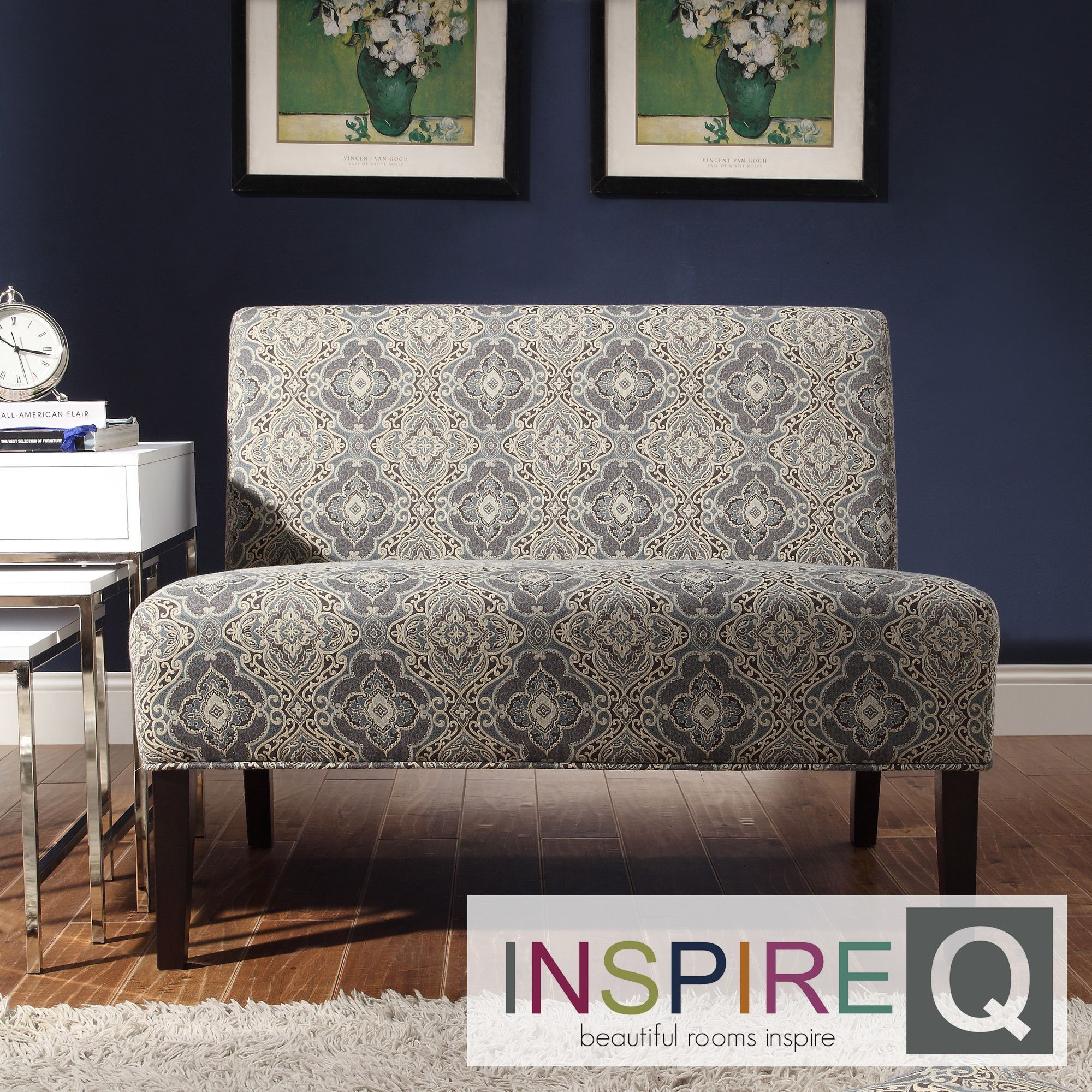 Wicker Park Blue Damask Armless Loveseat by INSPIRE Q by iNSPIRE Q