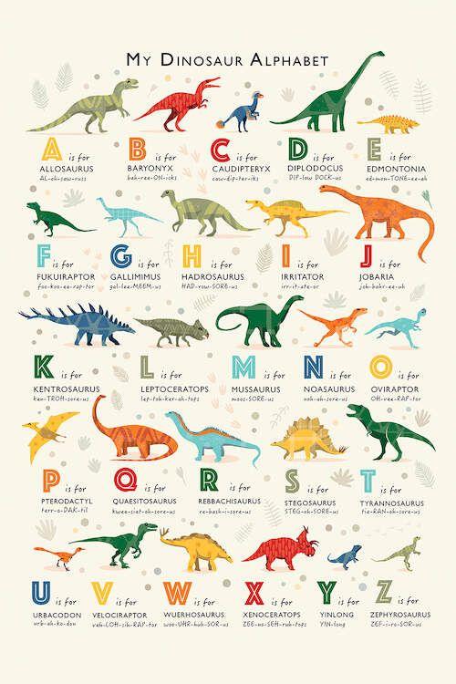 Dinosaur Alphabet Canvas Artwork by PaperPaintPixels | iCanvas