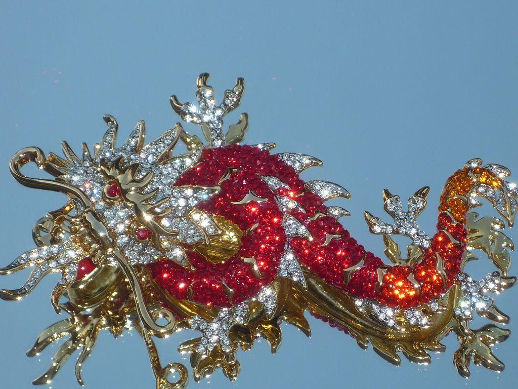 Butler and Wilson Gold Crystal Enamel Flying Dragon Brooch NEW