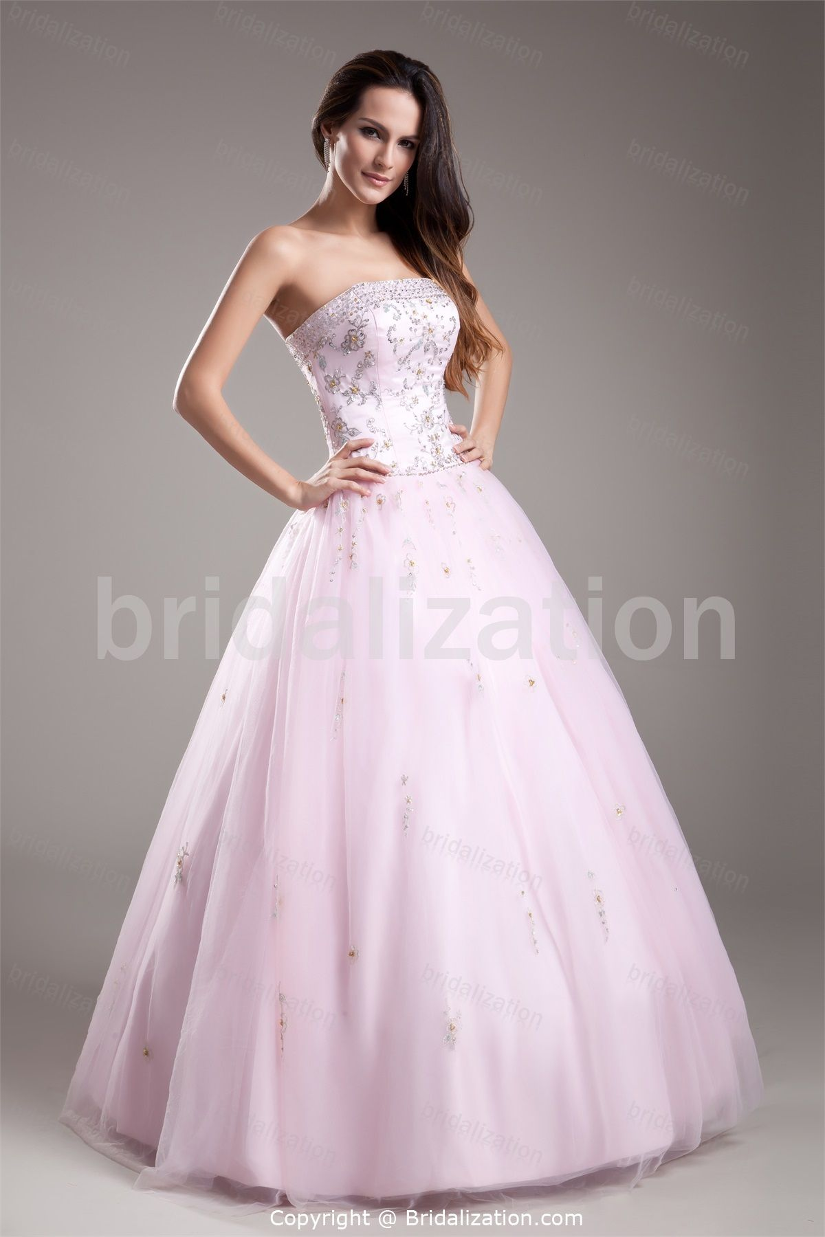 Light Pink Ball Gown Floor-Length Sleeveless Prom Dress 003 | PINK ...
