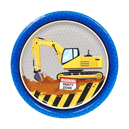 Construction Party 7 inch Dessert Plates (8 Count