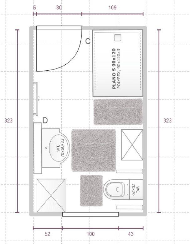 Kleines Badezimmer Mit Bodengleicher Dusche, WB, Toilette Und   Badezimmer  A Plan