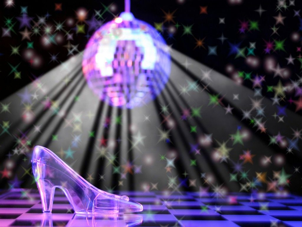 Disco Ball Background Slipper With Disco Ball In