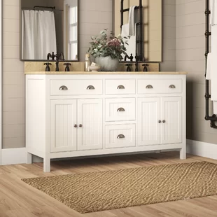 Longshore Tides Halliday 60 Quot Double Bathroom Vanity Set Wayfair Double Vanity Bathroom Vanity Set Bathroom Vanity