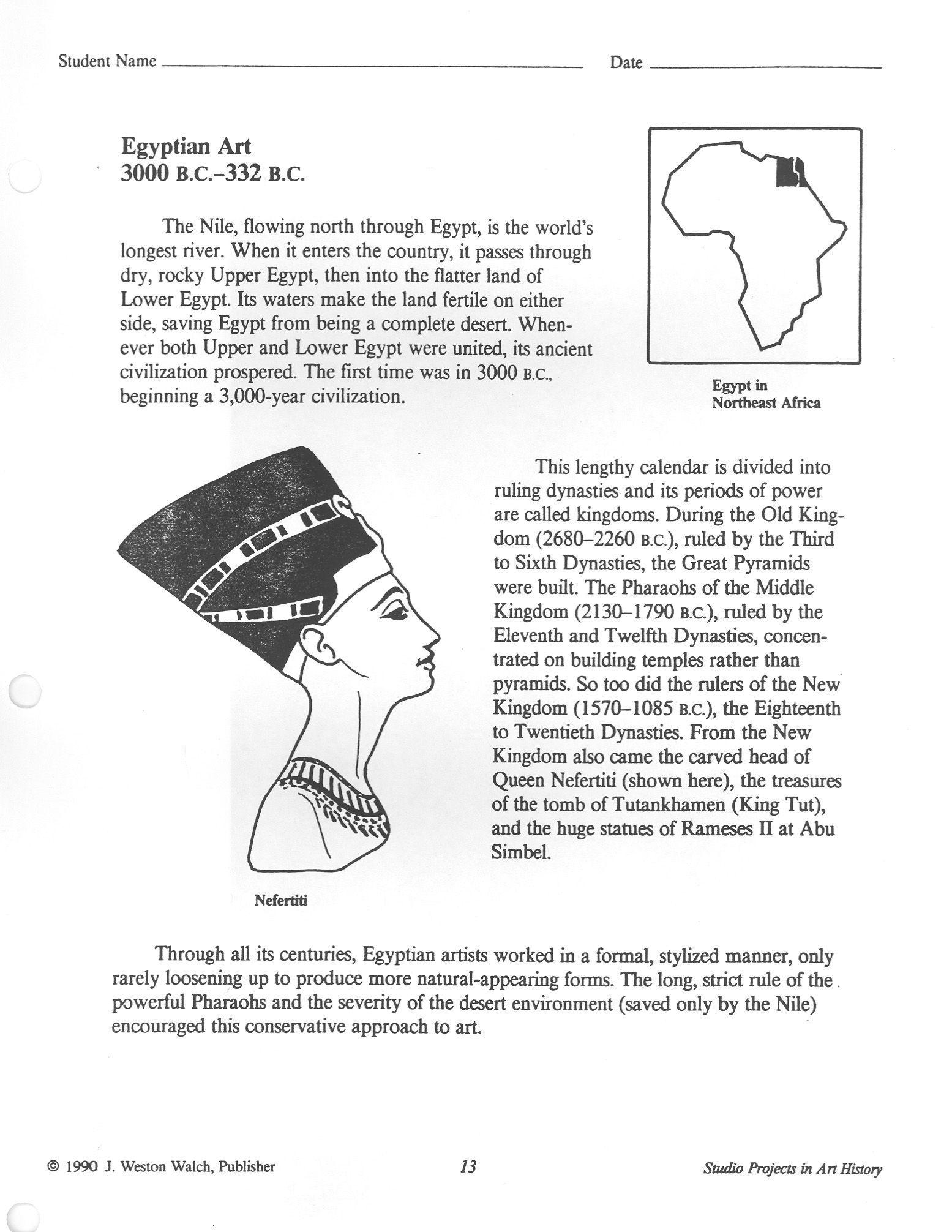 Image Result For Egyptian Art Worksheet